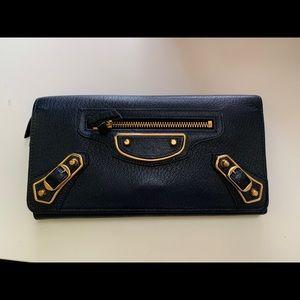 Authentic Balenciaga long blue wallet